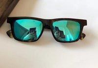 Havana Azul Espelho Óculos de Sol Caixa Almoço 56mm Homens Moda Sol Óculos UV400 Protecton Eyewear com caso