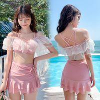 One-Piece Suits Sexy Split Skirt Two-piece Swimwear Brazilian Female Push Up Bikini Set 2021 Lace Ruffle Swimsuit Women Beach Wear Bathing S