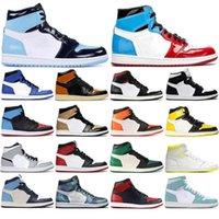 Con calcetines gratis 2021 Hot Banned Homage a Home INE Green High Light Smoke Grey 1s Hombres Zapatos de baloncesto Deportes Sneakers Tamaño 36 -46