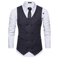 Erkekler Kruvaze Takım Elbise Yelekler Beyler Rahat Iş Kolsuz Yelek Vintage Resmi Blazers Yelek Düğün için