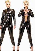 Sexy Wetlook Black Catwomen Womens Jumpsuit Skinny PVC Spandex Látex Disfraces de Catsuit para mujeres Trajes de cuerpo Fetish Cuero Vestido Plus