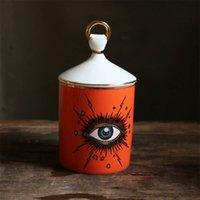 Creativo ceramica Big Eye Candlestick Starry Sky Candela Portacandele con coperchio a mano Candle Barattolo fai da te candleabras per la decorazione della tavola di casa