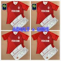 Adulto Kids Kit 2021 2022 Como Monaco Ben Yedder Volland Diop Futebol Jerseys Set Tchouameni Jovetic Golovin Camisa de Futebol 21 22 Maillot Flocage Jorge Uniform