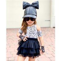 Clothing Sets Little Girls Outfit Snakeskin Printing Off Shoulder Round Collar Top Mesh Skirt Set Summer Fashion Kid Girl Children