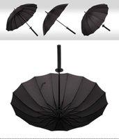 Umbrellas Japanese Samurai Swords Umbrella Sunny & Rainny Long-handle Semi-automatic 16 Ribs Black 8XN3