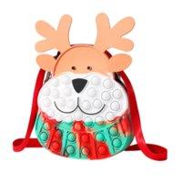 Fidget Toys Christmas Elk Messenger Bag Silicone Push Bubble Sensory Cross Bags Reliever Stress Adult Children Autism Antistress Toy