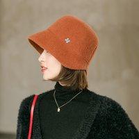 Yeni Sonbahar Kış Kadın Mix Yün Retro Fashionelecanes Dome Kova Hatfour Yaprak Yonca Süslemeleri Sokak Trendbowlersnw2