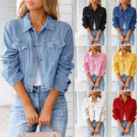 Women's Jackets Denim Solid Coat Casual Long Sleeve Short Jeans Jacket For Ladies Women Female Clothing