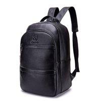 Backpack Genuine Leather Men Backpacks Fashion Real Natural Student Boy Luxury Weave Computer Laptop Bag