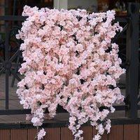 Fleurs décoratives Couronne Partie Joie 1PC 144 1.8m Cerisier artificiel Vigne Fake Flower Silk Pending Guirlande Pour Tea Mariage Arch Ho