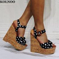 Sandales Kolnoo 2022 EST Style Handmade Womens Wadges Talons Dots Cuir Open-Toe Sexy Soie Parti Prom Fashion Fashion Summer Shoes