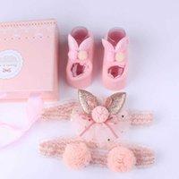 3個/セット新生児の赤ちゃんのヘッドバンド+靴下かわいいクラウン弓の赤ちゃんの女の子のヘッドバンド幼児女の子の髪のバンドハールバンドベビーヘアアクセサリーDHL LE351
