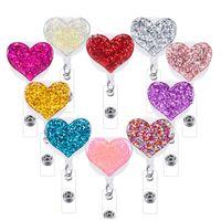 1pc Bling Love Heart Retract Badge Badge Holder Clip per clip per Badge ID infermiera bobina con clip alligatore