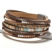 Charm Bracelets Fashion In Europe And America, National Storm, Simia Hand Woven Leather Rope, Alloy Magnetic Buckle Bracelet, Lady