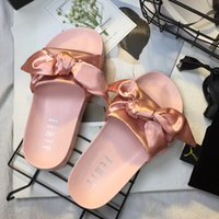 Rihanna Leadcat FeNy Slipper Faux Fur Burgundy Slides Slippers Ladies Indoor Black Pink Sandals
