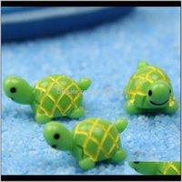 Süslemeleri Veranda, Çim Ev Damla Teslimat 2021 Yeşil Kaplumbağa Süs Masaüstü Craft Akvaryum Aksesuar Mikro Peyzaj Yosun Ekolojik Bo
