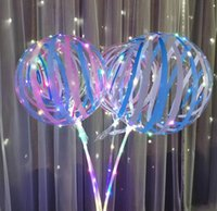 Luminous LED Balloon 20 inch Print Stripe string Transparent Balloons With 70cm Pole 3 Meters Line Wedding Party Decorations Holiday