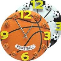 Wall Clocks 3d Creative Basketball Football Clock Modern Design Home Decor Kids Children Gifts Guess Watch Mechanism Decoration WZH474