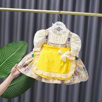 Bambina Polka Dot manica corta vestito pieghettato bambini bambini cartone animato stampato bowknot torta tutu abiti dolci bambini vestiti S1055