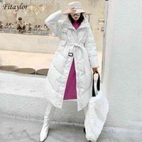 Fitaylor Kış Standı Yaka Uzun Kirpi Ceket Kadınlar 90% Beyaz Ördek Aşağı Kalın Ceket Kadın Gevşek Kemer Cep Sıcak Kar Dış Giyim