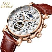 Hombres Automático Esqueleto Impermeable Fase de Luna Calendario Relojes Mecánicos Tourbillon Horloges Mannen Wristwatches