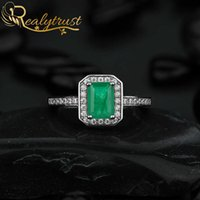 Realytrust 1ct Created Emerald Diamond Rings for Women 925 Sterling Silver Jewelry Wedding Engagement Ring Female Party Gift