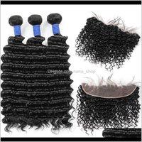 Wefts 10A 브라질 깊은 웨이브 3Bundles 13 * 4 레이스 정면 페루 말레이시아 인도 버진 인간의 머리카락 묶음 도매 도매 KD MMUW7