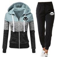 Women's Two Piece Pants Autumn Tracksuit Woman Zipper Patchwork Hoodie+Pants Suit Long Sleeve Sweatshirts And Trousers 2 Set Winter Clothing