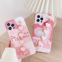 Pink heart design TPU phone cases with personality metal bracelet for iPhone 12 11 pro promax X XS Max 7 8 Plus