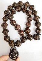 Exaggerated Imitation Carving Vintage Ethnic Triangle Buddhist Necklace Wood Beads Statement Buddha Pendants