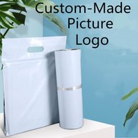 Gift Wrap Custom 10pcs Printed Tote Express Bag With Handle Courier Self-Seal Adhesive Thick Waterproof Plastic Poly Envelope Mailing