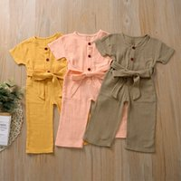 Kaliteli Şık Ins Toddler Bebek Kız Tulumlar Tulum Tulumlar Keten Pamuk Kemer Boş Pamuk Çocuk Kız Tulum Onesies 0-2 T 2065 Q2