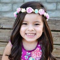 Acessórios para crianças Criança Rosas Flower Headband Bands Bebês Bebê Cabelo Tecido Flores Headbands for Girls