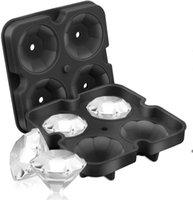 4 셀 다이아몬드 아이스 큐브 트레이, 바 도구 쉬운 방출 실리콘 금형, 위스키, 칵테일 및 주스 음료, 블랙 DHF7081