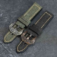 Canvas And Leather Watchband 20 22 24 26mm Suitable For PAM111 441 Bronze Watch Accessory Cusn8 Clasp Mechanical Style