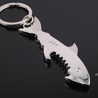 Metal 2 in 1 Keychain Bottle Opener Creative Shark Fish Key chain Beer Openers HWE9661