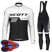 Spring / Autum Scott Team Mens Cycling Jersey Juego de camisas de manga larga camisetas Pantalones de babero Traje MTB Trajes de bicicleta Racing Bicicleta Uniforme Outdoor Deportes Use Ropa Ciclismo S21042040