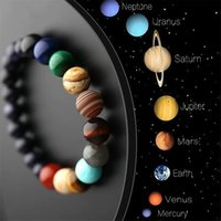 Lovers Eight Planets Natural Stone beaded Bracelet Universe Yoga Chakra Galaxy Solar System Beads Bracelets for Men Women Jewelry
