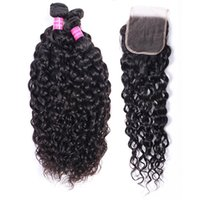 Brazilian Human Hair Bundles Wefts With Closure 4*4 Extensions Water Peruvian Deep Loose Wave Curly Virgin Weave for Women Natural Black