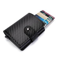 Card Holders Carbon Fiber Men's Wallet Commercial Bank Automatic -up RFID Holder Fits For 10 Cards