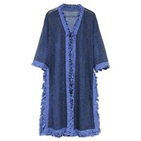 Women's Trench Coats Olyester Long Coat Women Vintage Chiffon Half V-Neck Wide-waisted Solid Blue MX280