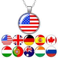 Mode USA Vereinigtes Königreich Kanada Deutschland Nation Flagge Foto Anhänger Halskette 25mm Glas Cabochon Frauen Mädchen Schmuck Party Geburtstagsgeschenk 50cm