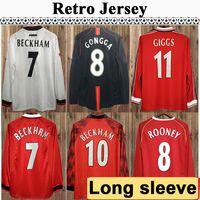 92 98 Manga comprida Keane Giggs Cantona Mens Futebol Jerseys Retro Beckham Solskjaer Keane Rooney Scholes Home Away Futebol Camisa