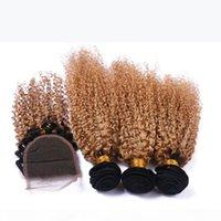 Fecho de laço com pacotes ombre 1b 27 cor quente peruana profunda curl 4 * 4 lace clsoure com pacotes cabelo humano cabelo virgem