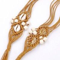 حزام مصمم جودة فاخرة حبة شل الخشب اليدوية الشمع حبل المنسوجة الزخرفية الرياح العرقية الخصر سلسلة أنثى بوهيميا