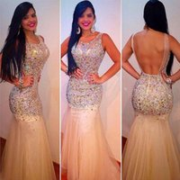 Party Dresses Sexy Mermaid Champagne O-neck Beaded Open Back See-through Bottom Prom Dress Long,Discount Formal Evening
