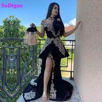 Robe de soirée Sodigne avec train détachable Appliques Split Split Maroc Kaftan Velvet Mermaid Muslim Muslim Prom Algérien Outfit Fête
