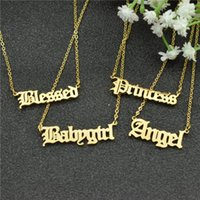 Gothic Font Personalized Name Pendant Necklace For Women Girl BFF Customized Old English Nameplate Jewelry Babygirl Chains