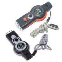 Multifunktions 7 In1 Survival Whistle Keychain von Outdoor mit Kompasslastifier W89F-Gadgets