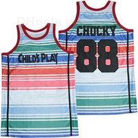 Film filmi 1988 çocuğun oyun basketbolu 88 chucky jersey erkekler nefes saf pamuk spor üniforma beyaz takım rengi en kaliteli